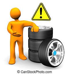 automobile, manichino, attenzione, ruote
