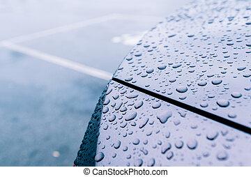 automobile, metallico, vernice, acqua, nuovo, multiplo, gocce