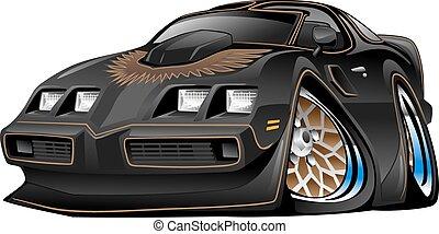 automobile, muscolo, nero, cartone animato, classico