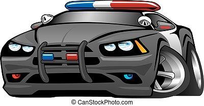automobile, muscolo, polizia, cartone animato, illustrat