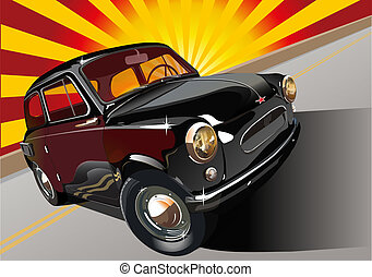 automobile, nero, retro