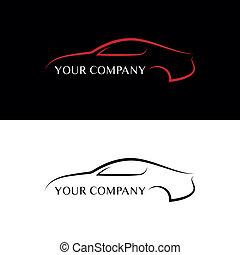 automobile, nero rosso, logos