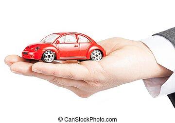 automobile, o, affari, servizio, giocattolo, costi, riparare uomo, affittare, assicurazione, carburante, mano, concetto, acquisto