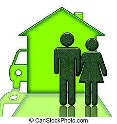 automobile, persone, casa