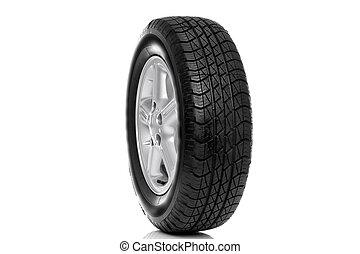 automobile, pneumatico, lega, fondo, isolato, raggio, (tire), cinque, foto, ruota, bianco