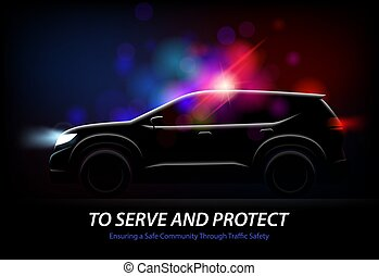 automobile, polizia, fondo, luci
