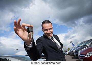 automobile, presa a terra, felice, chiavi, venditore