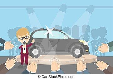 automobile, presentazione, showroom.
