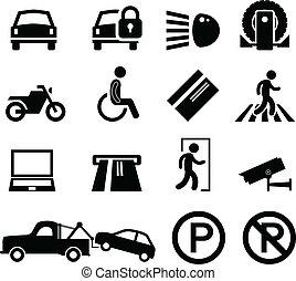 automobile, promemoria, parcheggio, parco, zona