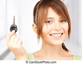 automobile, ragazza, chiave, felice