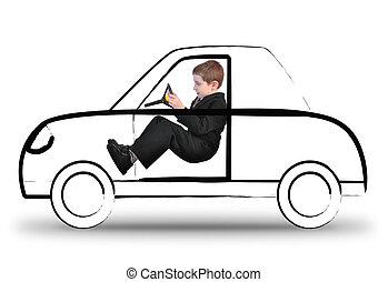 automobile, ragazzo, lavoro, invisibile, guida, bianco