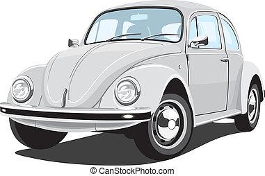 automobile, retro, argenteo
