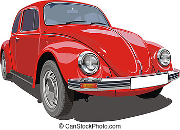 automobile, retro, rosso