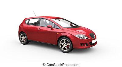 automobile, rosso, famiglia