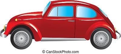 automobile, rosso, isolato, retro