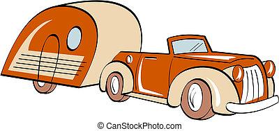 automobile, rv, roulotte campeggiatore, campeggio