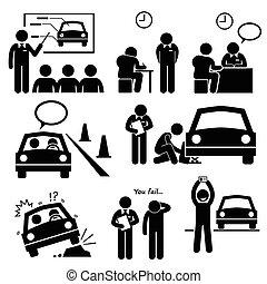 automobile, scuola, licenza, guida
