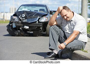 automobile, secondo, abbattersi, scombussolare, uomo