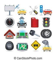automobile, set, icona