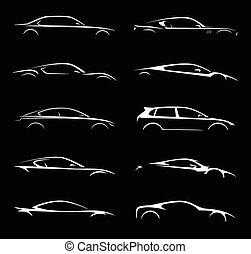 automobile, set, silhouette, collezione, super