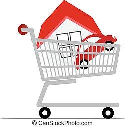 automobile, shopping, cart., casa