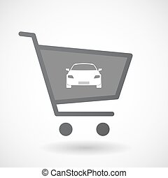 automobile, shopping, isolato, carrello, icona