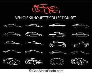 automobile, silhouette, collezione, veicolo, supercar, regolare, set.