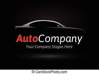 automobile, silhouette, ditta, veicolo, logotipo