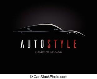 automobile, silhouette, veicolo, sport, disegno, logotipo, auto, stile, concetto