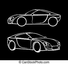 automobile, silhouette, vettore