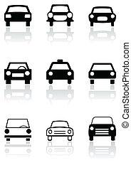 automobile, simbolo, segno, vettore, o, strada, set.