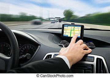 automobile, sistema, mano, usando, navigazione, persona, gps
