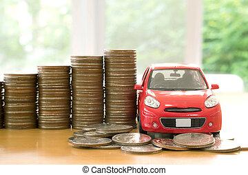 automobile, sopra, accatastato, monete, rosso, lotto