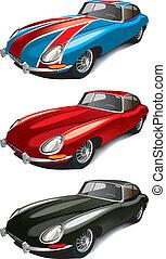 automobile, sport, set, retro, inglese