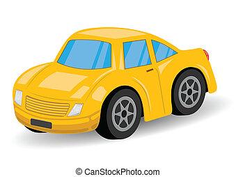 automobile, -, sport, vettore, giallo, cartone animato