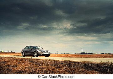automobile, strada, paese