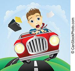 automobile, uomo affari, digiuno, giovane, classico, guida