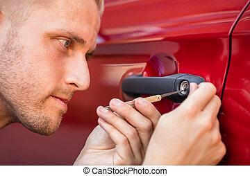 automobile, uomo, porta, lockpicker, apertura