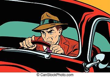 automobile, uomo, retro, guida, serio