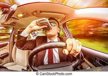 automobile, uomo, vehicle., guida, ubriaco