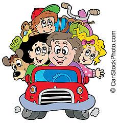 automobile, vacanza, famiglia, felice