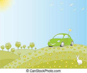 automobile, verde, eco-amichevole, campo