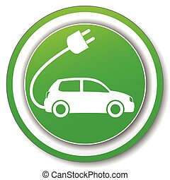 automobile, verde, elettrico, icona