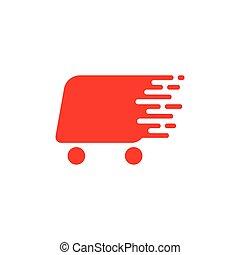 automobile, vettore, carrello, logotipo, shopping, digiuno, disegno