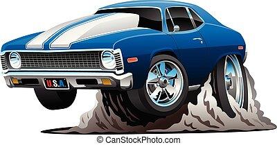 automobile, vettore, classico, americano, cartone animato, muscolo, illustrazione