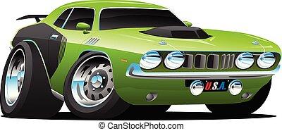 automobile, vettore, classico, americano, stile, cartone animato, muscolo, anni settanta, illustrazione