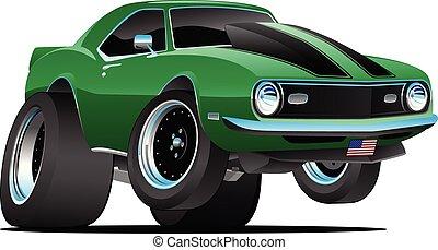automobile, vettore, classico, anni sessanta, americano, stile, cartone animato, muscolo, illustrazione