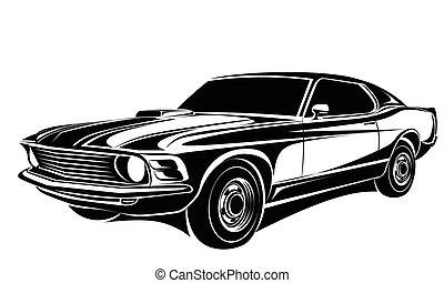 automobile, vettore, classico
