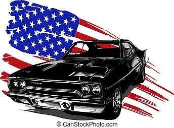 automobile, vettore, disegno, americano, muscolo, illustrazione, grafico
