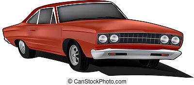 automobile, vettore, illustrazione, muscolo
